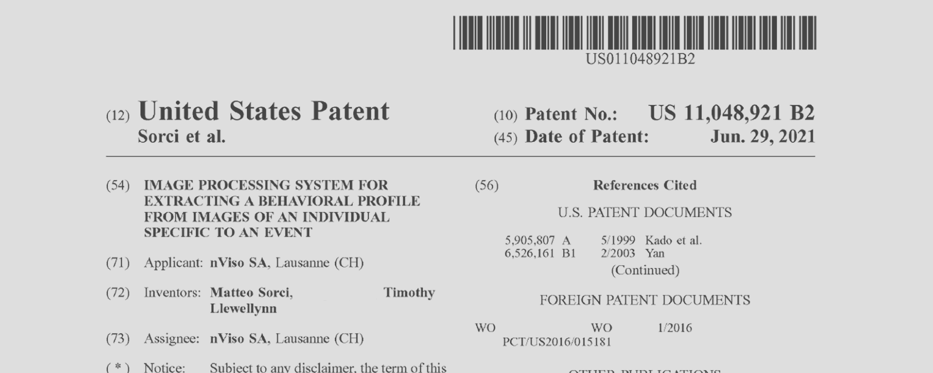 NVISO Granted a US Patent for Human Behavioural Profiling from Image Processing using Artificial Intelligence